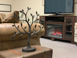fireplace room tree