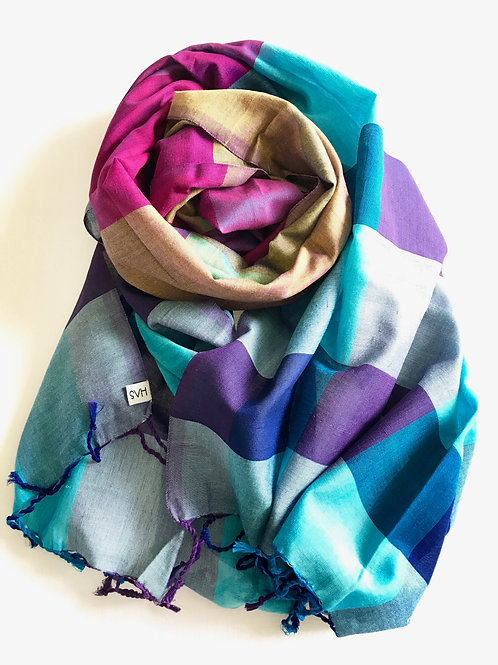 Blue and purple with bronze scarf - 100% premium cotton