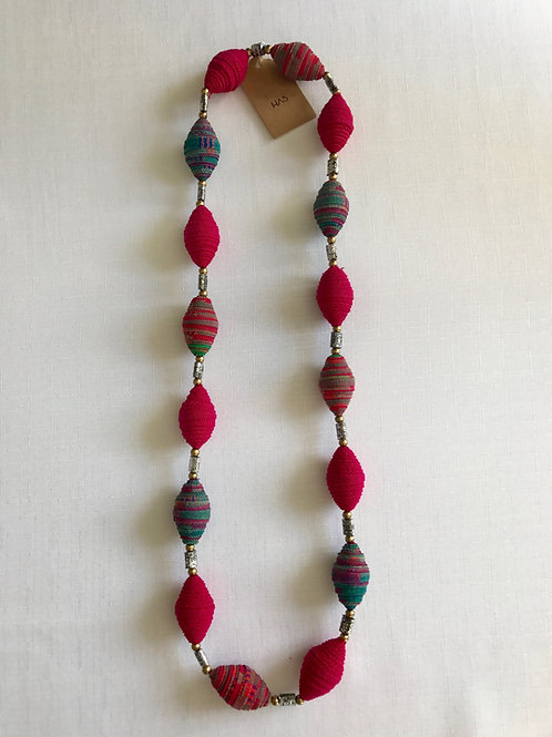 Pink and blue fabric-bead necklace