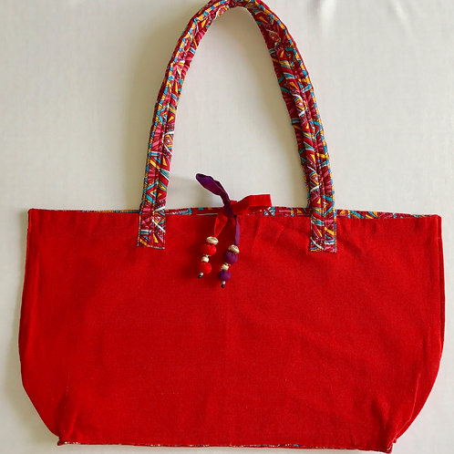 Handwoven soft cotton dark red tote bag