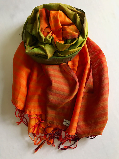 Striped orange scarf with lime green centre - 100% premium cotton