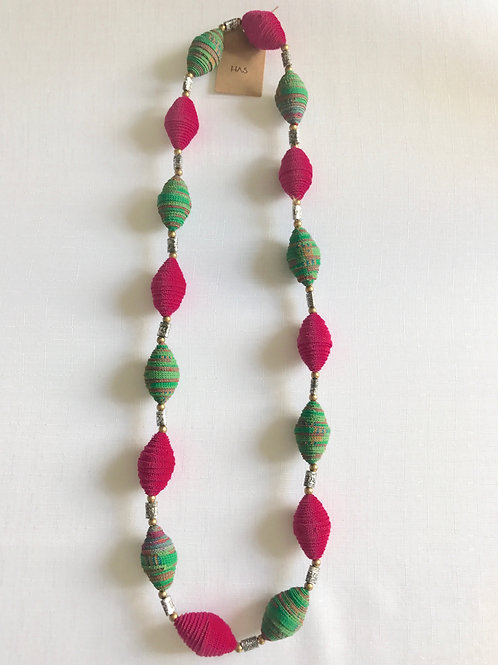 Pink and green fabric-bead necklace