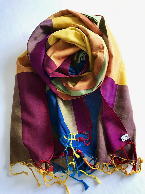 Multi-coloured scarf, with predominantly yellow shades - 100% premium cotton