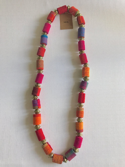 Shades of yellow, pink, orange and purple fabric-bead necklace