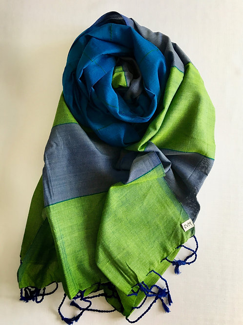 Peacock blue, green and grey scarf - 100% premium cotton