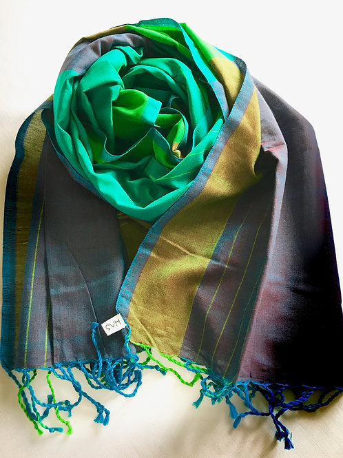 Scarf in shades of green with purple and a hint of blue - 100% premium cotton