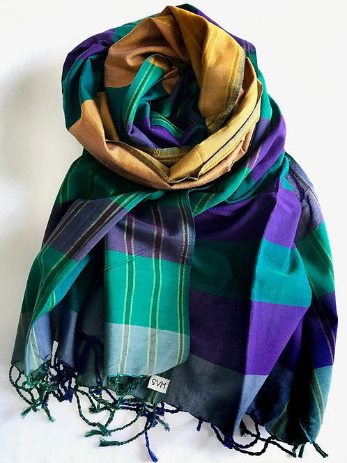 Green and purple scarf with a bronze centre - 100% premium cotton
