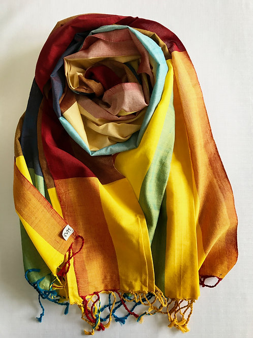Bronze scarf with multi-coloured shades - 100% premium cotton