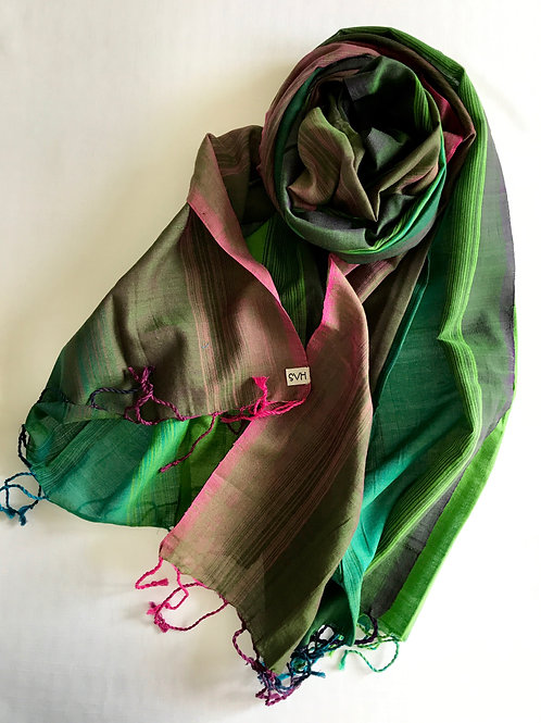 Scarf in shades of green with tinges of pink - 100% premium cotton