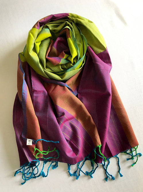 Lime green and purple scarf - 100% premium co
