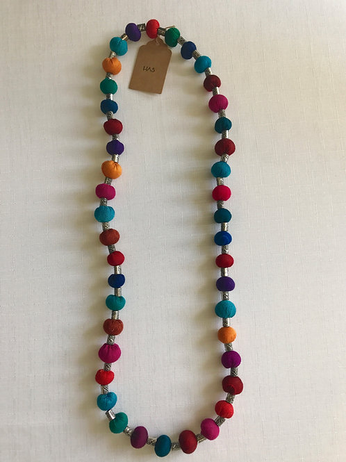 Multi-coloured fabric-bead necklace