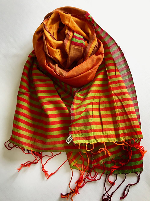 Burnt orange scarf with green horizontal stripes - 100% premium co