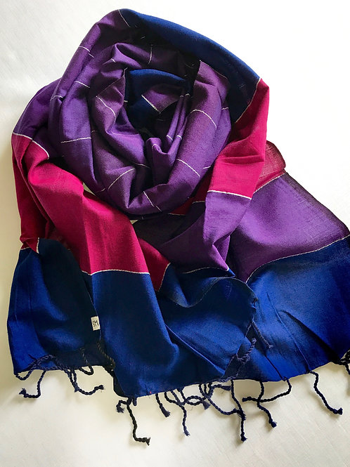 Deep purple, bright pink and dark blue scarf - 100% premium cotton