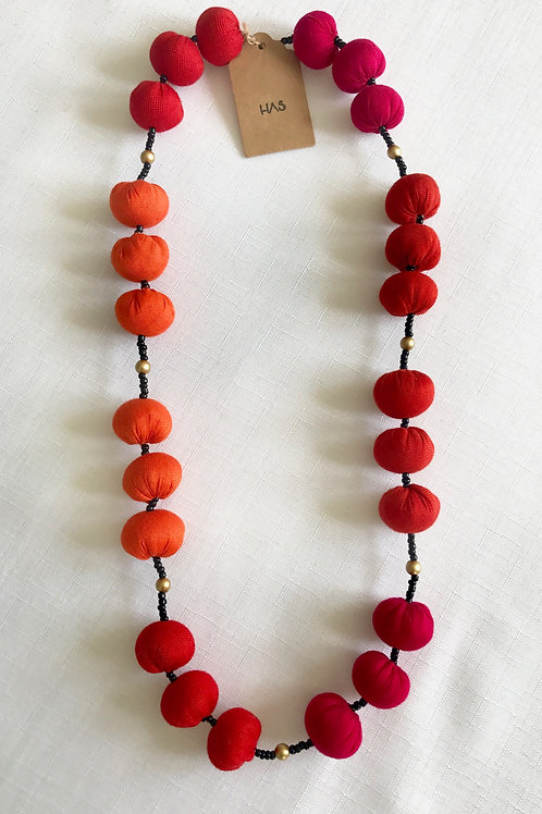 Red and orange fabric-bead necklace