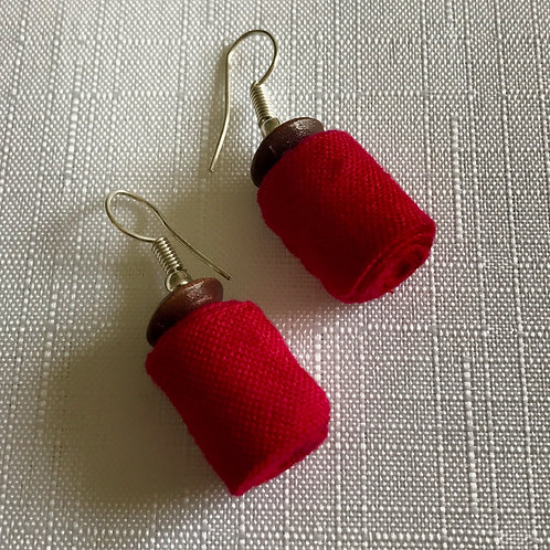 Bright pink, cylindrical fabric drop earrings with wooden bead
