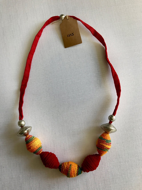Red and yellow fabric-bead necklace