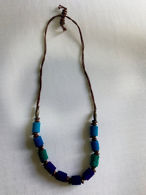 Peacock blue, navy, purple and green cylindrical-bead necklace on a double-stran