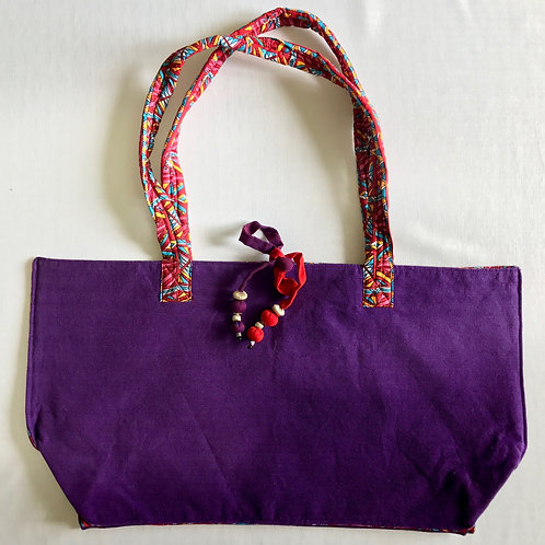 Handwoven soft cotton dark purple tote bag