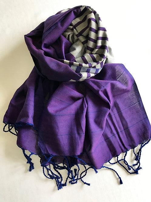 Purple and silver scarf - 100% premium cotton