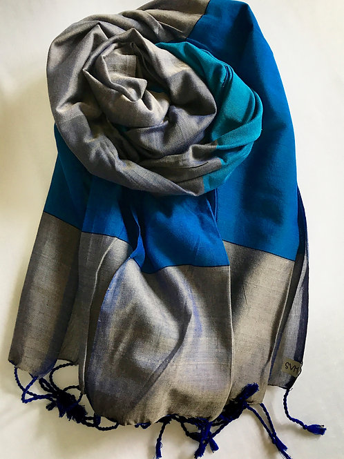 Blue and silver scarf - 100% premium cotton