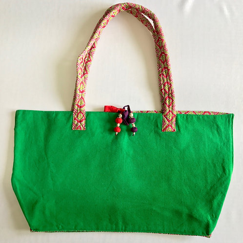 Handwoven soft cotton dark green tote bag