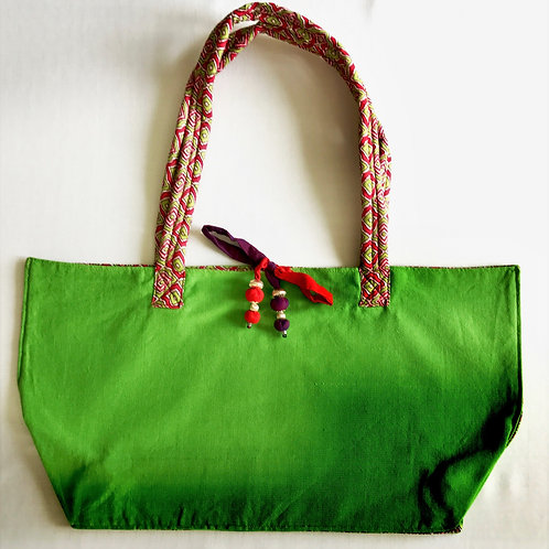Handwoven soft cotton light green tote bag
