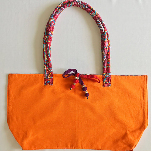 Handwoven soft cotton orange tote bag