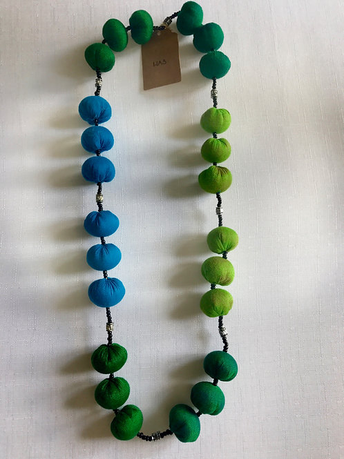 Shades of blue and green fabric-bead necklace