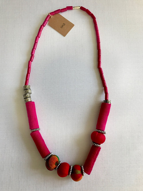 Bright pink and multi-coloured fabric-beaded necklace