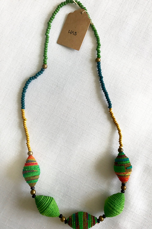 Green, yellow and golden fabric-bead necklace