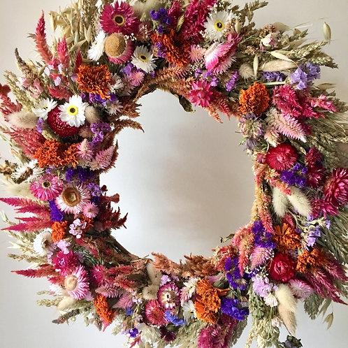 Custom made asymmetrical or full everlasting wreath