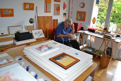 Armand Scholtès dans son atelier, Nice,