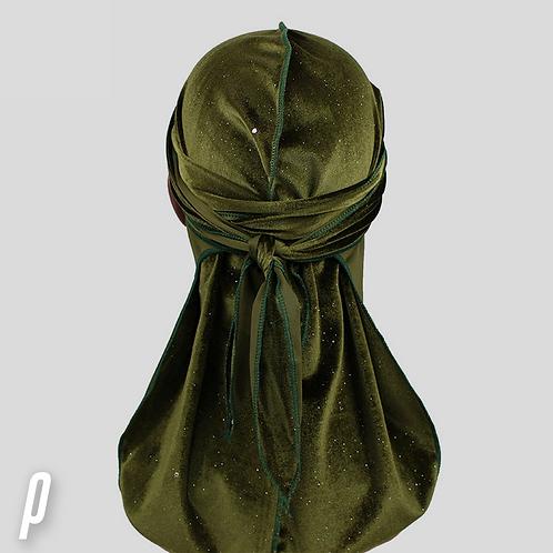 Shiny Army Green Velvet  Durag