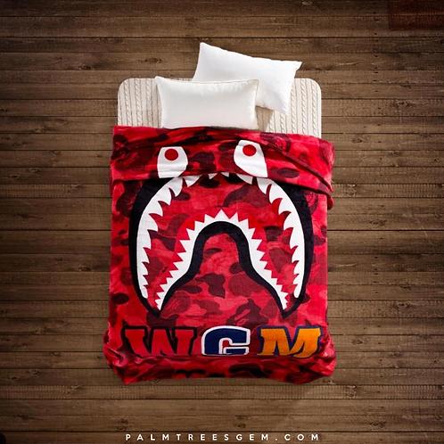 Red Camo Bape Shark Blanket
