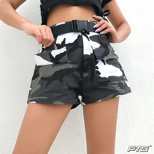 Mini Buckle Camo Shorts
