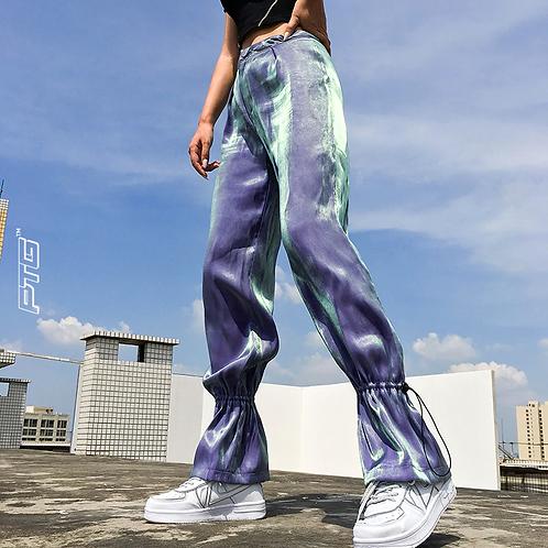 High Waist Reflective Lace Pants