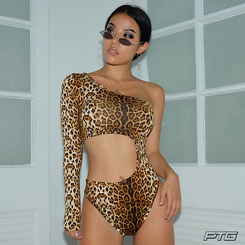 One Sleeve Leopard Bodysuit