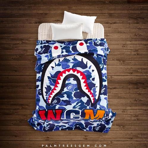 Blue Camo Bape Shark Blanket