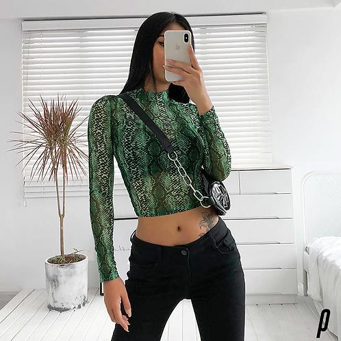 Green Snake Long Sleeve Crop Top