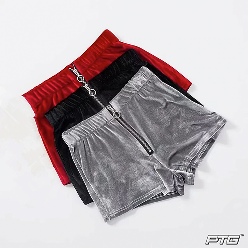 Velvet Zipper Elastic Shorts