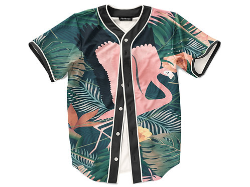 Tropical Flamingo Baseball Jersey