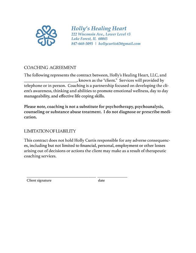 Holly's Healing Heart Coaching Agreement