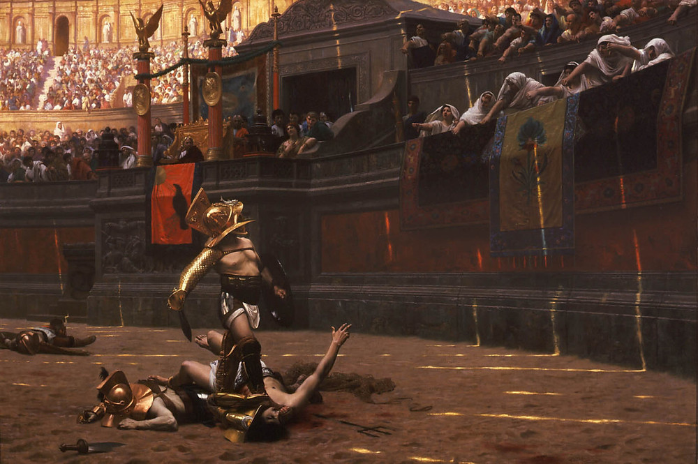"""Gladiators could be slaves, captured prisoners or Roman citizens trying to improve their popularity, fighting exotic animals or each other. (Pollice Verso (""""With a Turned Thumb""""), an 1872 painting by Jean-Léon Gérôme)"""