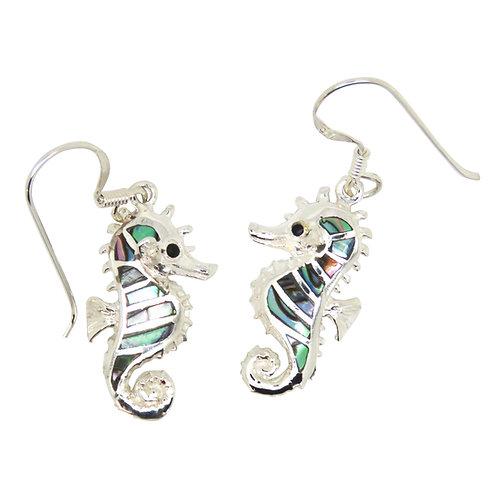 Abalone Seahorse Earrings