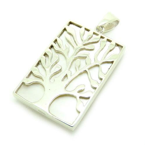 Mother of Pearl Rectangular Reversible Tree of Life Pendant