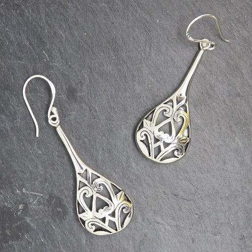 Abalone and Filigree Long Earrings