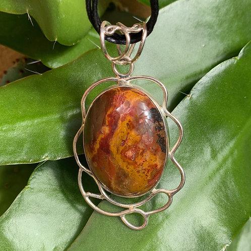 Brown Jasper & Silver Squiggle Pendant
