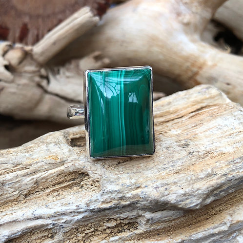 Malachite Rectangular Adjustable Silver Ring