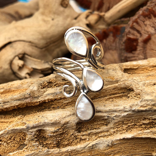 Mother of Pearl 3 Tier Adjustable Silver Ring