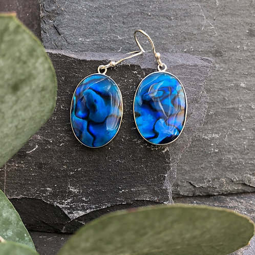 Abalone Large Blue Earrings